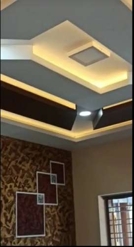 Gypsum Ceiling work, Glass Door,Tuffen Glass work,Shop Interior work