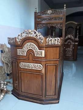 Mimbar podium jati solid color dark brown