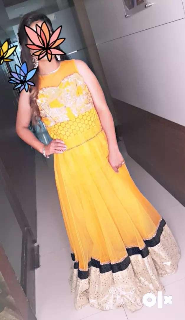 Orange net dress with royal zari embroidery 0