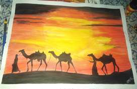 Its A3 size paper water color painting on scholar sheet