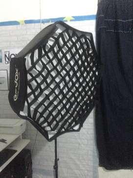 Softbox godox 1 set+lightstand +lamp holder + lampu pilip 45 watt