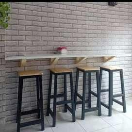 Meja kursi cafe, meja kursi kedai, meja makan, meja dinding