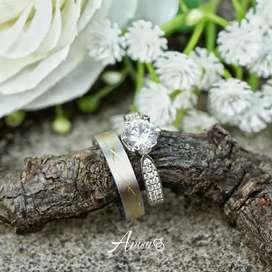 Cincin couple palladium emas putih dengan model baru bisa request