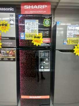 Kulkas sharp 2 pintu bisa di cicil syarat mudah cukup ktp