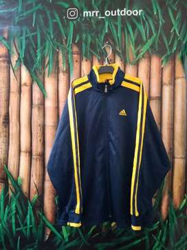 Jaket tracktop Adidas black yellow size L second