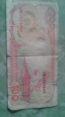 Uang koin kertas perahu layar 100 rupiah thn 1992