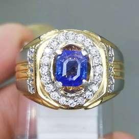 Cincin Batu Natural Blue Safir Srilangka kotak Asli