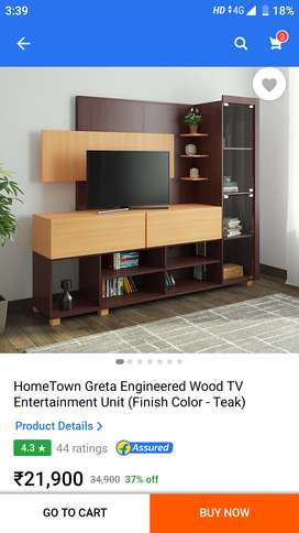 TV unit with book and decor shelf