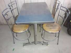 Four seated steel table chair for sale