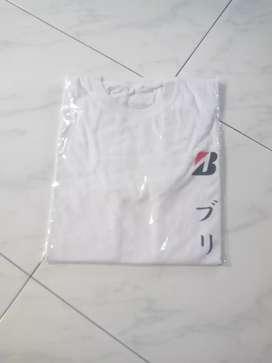 Kaos warna putih Bridgstone ukuran L