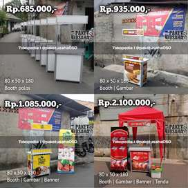 Booth portable, gerobak, container, meja lipat, alumunium polos murah