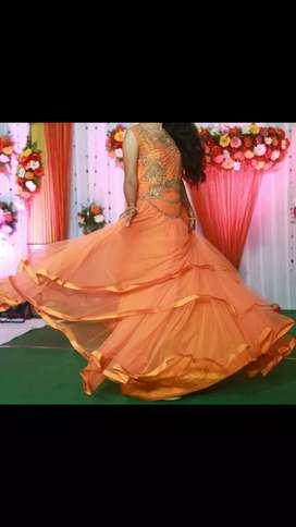 Orange long party wear gown