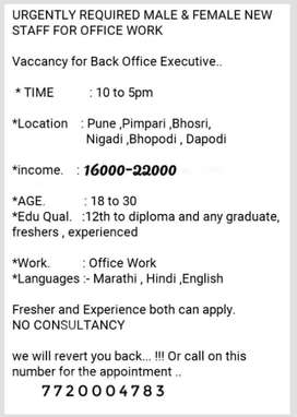 Urgengtly Required Boys and Girls in our office for Official Work.