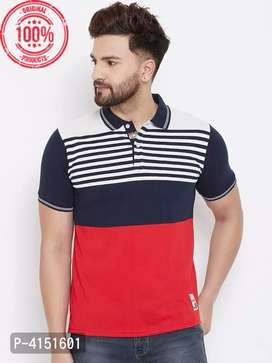Colorblocked Cotton Blend Polo T-shirt