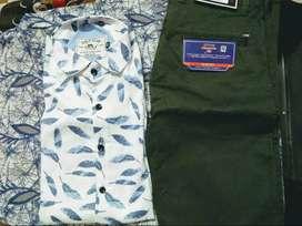 Brand Golf Club White printed shirt. Brand 'Arrow' olive green chinos