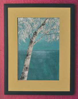Silver textured tree painting