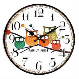 Jam Dinding Bulat Quartz Creative Design 30cm Model Eropa Owl Wooden -