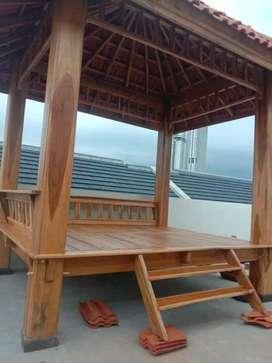 Saung gazebo kayu jati ukuran 2x2m