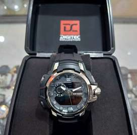 jam tangan DC fullset dualtime sport gahar black gold elegant