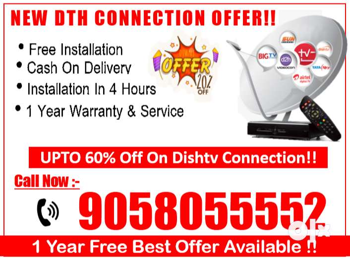 Upto 60% Off On New Dishtv - Tata sky, Airtel, D2H Tatasky Book Call !
