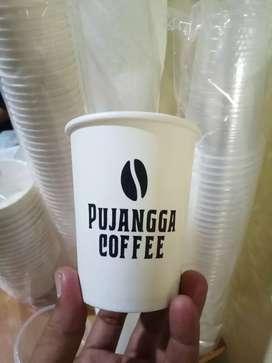 Gelas plastik dan cetak logo kemasan hot pappercup 8oz
