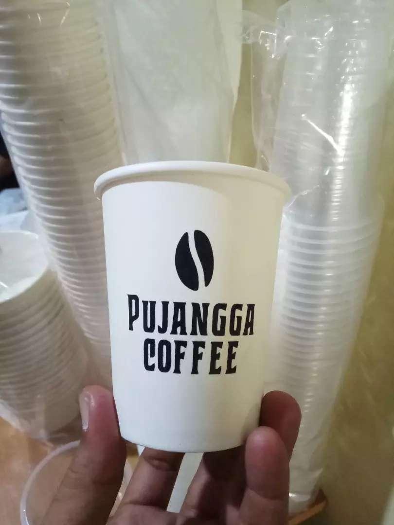 Gelas plastik dan cetak logo kemasan hot pappercup 8oz 0