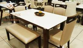 Brighton Large 6 Seater Dining Table Set with Bench