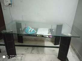 Glass And Leather Worked Dinnig Table