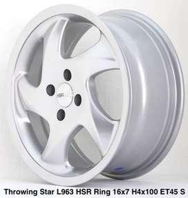 Toko velg THROWING STAR L963 HSR R16X7 H4X100 ET45 SILVER