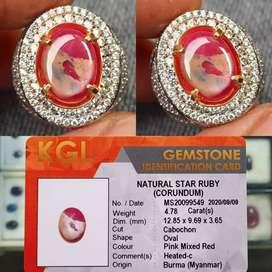NATURAL STAR RUBY BURMA (MYANMAR) 4.78 CRT