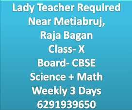 Lady Teacher Required For Science+Math