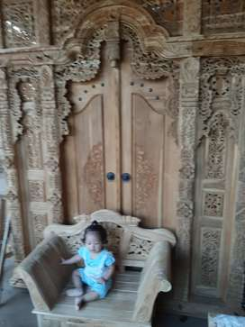 Cuci gudang pintu gebyok ukir ukuran 200 x 250 cm kayu jati asli saif