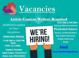 Article/ Content/ Blog Writers Required