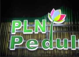 pusatnya huruf timbul neon box nyala papan nama kantor PLN bank bpr