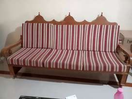 3 seater antique pure teak sofa for SALE with kurl on cushions