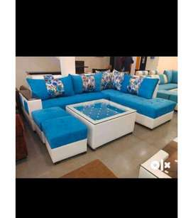 SOFA SET L SHAPE WITH 2 PUFFY AND CENTER TABLE WITH GLASS