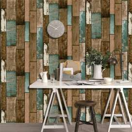 Wallpaper Dinding 3D Vintage Wood Grain 70x70 cm