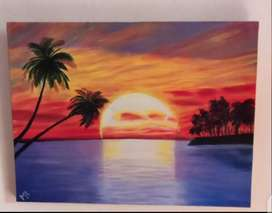 The sunset (Oil painting)
