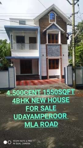 UDAYAMPEROOR MLA ROAD 4.500CENT 1550SQFT 4BHK NEW HOUSE FOR SALE