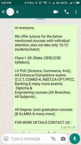 Tuition classes in Rt. Nagar