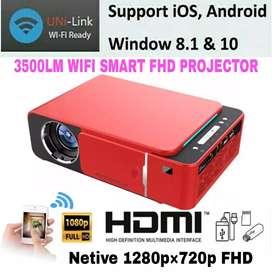 3500LM T6 WIFI MIRACAST 1280P HD SMART LED PROJECTOR USB HDMI. VGA AV