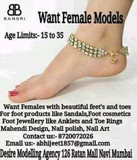 Want female models for feet modeling