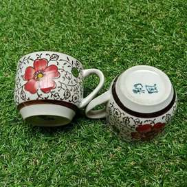 Sepasang cangkir tea red flower from Chinatown