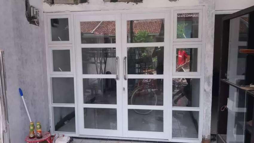 Jual cepat murah pintu alumunium kaca dobel jendela 0