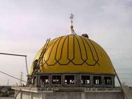 Hasil Rapi Pembuatan dan Pemasangan Kubah Masjid GRC