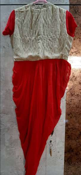 A gorgeous red colour georgette dhoti dress