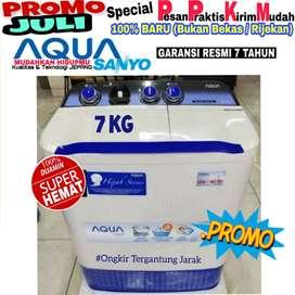 Mesin cuci Aqua Sanyo 2 tabung murah 7kg Baru