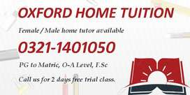 We provide Home Tutors for all classes in Lahore