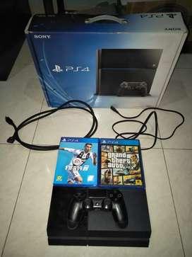 PS 4 fat 500gb + kaset GTA V & FIFA 19