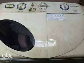 White And Gray Top-load semi automatic Washing Machine